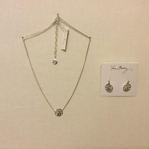 VERA BRADLEY Openwork Necklace & Earrings Silver